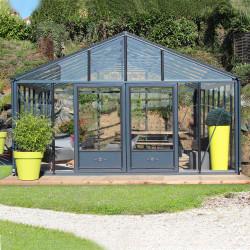 Serre de jardin en verre trempé SUPRA 38,20 m² - Coloris RAL au choix