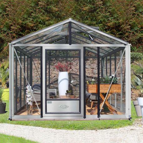 Serre de jardin en verre trempé SUPRA 12 m² - Aluminium naturel