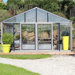 Serre de jardin en verre trempé SUPRA 38,20 m² - Aluminium
