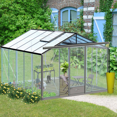 Serre de jardin en verre trempé ESSENTIA 11,80 m² - Coloris RAL au choix