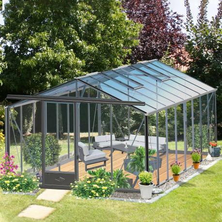 Serre de jardin en verre trempé ESSENTIA 18,70 m² - Coloris RAL au choix