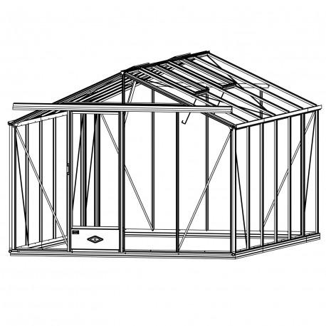Serre de jardin en verre trempé ESSENTIA 14,10 m² - Coloris RAL au choix