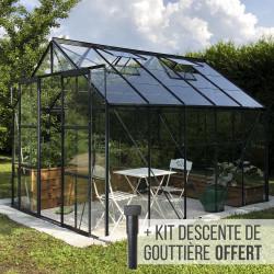 Serre de jardin en verre trempé LAURUS URANUS 8,30 m² - Aluminium laqué anthracite