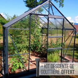 Serre de jardin en verre trempé CARVI MERKUR 8,25 m² - Aluminium laqué anthracite