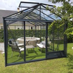 Serre de jardin en verre trempé LUXIA 14,10 m² - Aluminium
