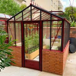 Serre de jardin LUXIA Retro sur muret 2,36 x 3,09 m RAL 3004 satiné