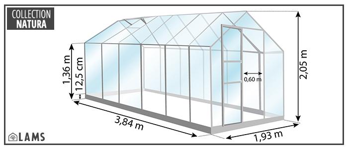 Dimensions serre de jardin Vénus 7,50m²