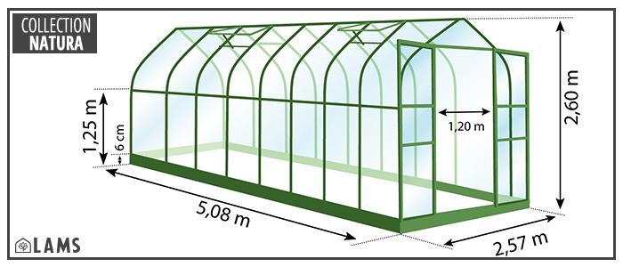 serre 13,20m² - serre de jardin en verre trempé et structure aluminium laqué verte