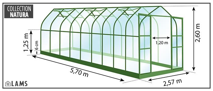 serre 14,50m² - serre de jardin en verre trempé et structure aluminium laqué verte