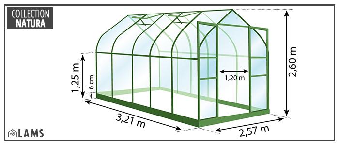 Dimensions serre de jardin Diana 8,25m²