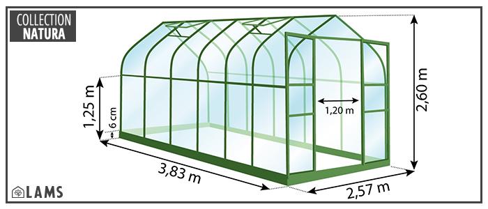 Dimension serre Diana 9,85 m²