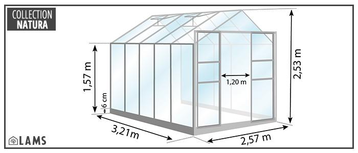 serre 8,30m² - serre de jardin en verre trempé et structure aluminium laqué verte