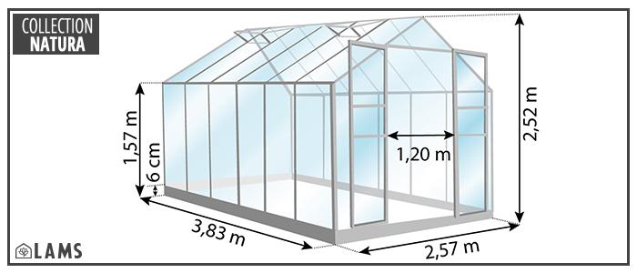 serre 9,85m² - serre de jardin en verre trempé et structure aluminium laqué verte