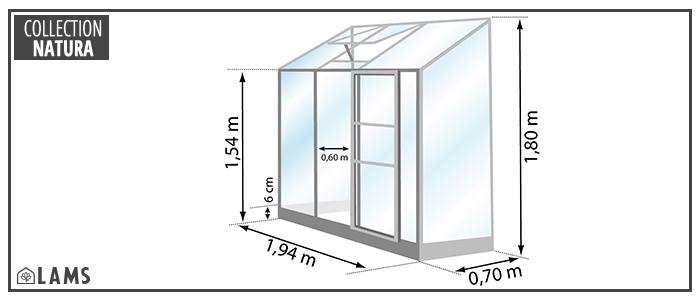 Dimensions serre IDA 1300