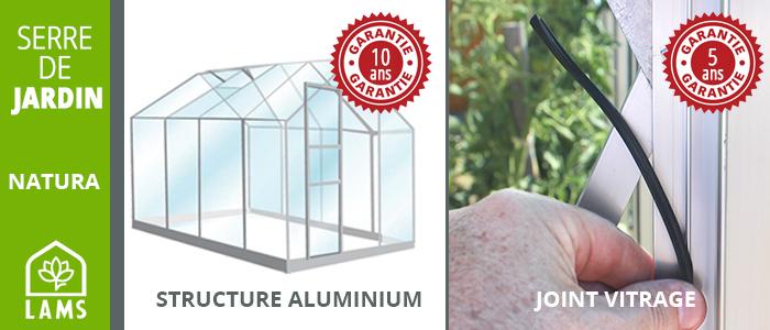 garanties pour les serres de jardin en verre lams