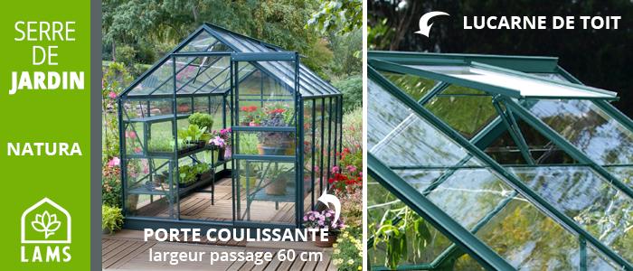 serre de jardin en verre avec lucarne de toit et porte coulissante